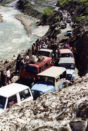 Traffic jam at avalanche, Naran, Kaghan Valley